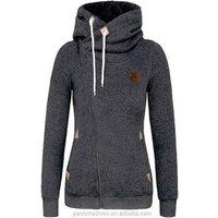 Winter Autumn Women Hoodies Sweatshirts Long Sleeve Hooded Jacket Warm Inclined Zipper Design Sweatshirt Women Sudaderas