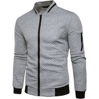 Mens Casual Soft Lightweight Zip Up men Bomber Jacket With Diamond Plaid