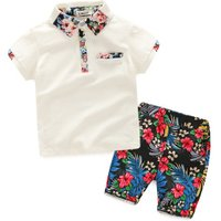 European style kids beach suit cotton floral print baby boy clothes 2pcs summer clothing set
