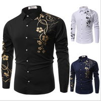 Linen Cotton Blend Long Sleeve Business Mens Dress Shirts With Embroidery