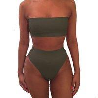 Womens Removable Strap Wrap Pad Bandeau Bikini High Waist Swimsuit