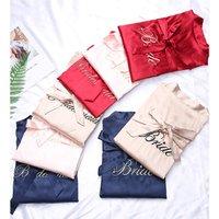 Silk Satin Robes Wedding Bridesmaid Bride Gown kimono robe 4 sizes for choosing