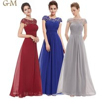 Women Ladies Lace Embroidered Chiffon Wedding Bridesmaid Evening Prom Gown Formal Party Dresses Long Burgundy Evening Dress
