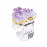 Amethyst Geode Crystal Cluster Napkin Rings Wedding Table Napkin Crystal Rings Electro Gilding