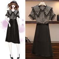 wholesale 2019 Plus size ladies fashion dresses short sleeves Lace chiffon top and skirt two pieces set women casual dress
