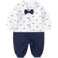 YiErYing Newborn Clothing Baby Fashion 100% Cotton Baby Boy Romper Beard print and Bow tie Infant Jumpsuit