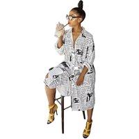 Womens Newspaper Printing Dress New Style Coat lady Dress