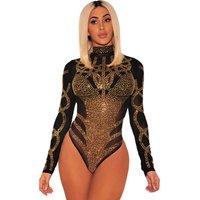 Women Sexy Black Gold Rhinestone Transparent Bustier Mesh Long Sleeves Bodysuit