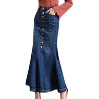Hot Selling Fashion Long Bodycon Skirts Womens High Waist Button Pocket Front Fishtail Blue Denim Maxi Skirt Slim Literary Style