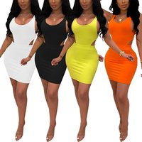 New Style Solid Color Sling Hollow Sexy Mini Dress Bodycon Womens Two Piece Short Sets