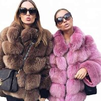 Guangzhou Fashion Faux Fur jacket mutil-colors fat female S-XXXXL overcoat medium length fox skin fur winter coat for women 2018