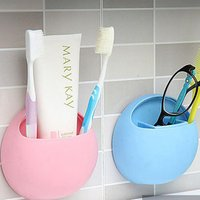 Wall Mounted Toothbrush Toothpaste Holder Kitchen Bathroom Organizer Plastic Bathroom Accessory Set