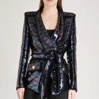 Women bling beadings Sequin Blazer New Stylish Shiny Long Sleeve office fashion party formal women belt Blazer jacket
