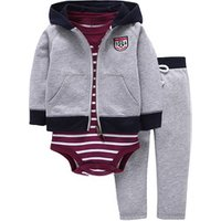 Boutique baby winter clothing set 3 pcs set hooded jacket romper and pants