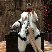 YRC208 New Arrival Fashion Women Winter Fluffy Natural Real Knitted White Fox Fur Coat