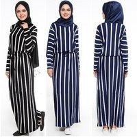 A3327 wholesale cotton polyester stripe kaftan abaya arabic hijab burqa abaya
