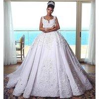 ZH3375G Gorgeous Designer Ball Gown Wedding Dresses Arabic Dubai Spaghetti Sleeveless Lace Beads Wedding Bridal Gowns