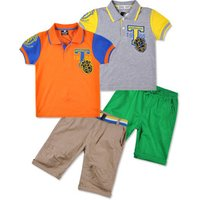 Readymade Garments Guangzhou Polo Shirt Top Cropped Pants Kids Polo Sets