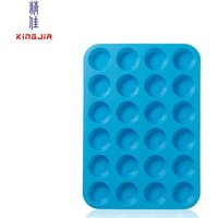Large Mini Muffin Pans - 24 Cup Jumbo Silicone Pan for Cupcakes and Premium Baking- Non Stick Tray / Bakeware - Silicon Mold