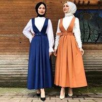Kaftan Abaya Turkey Muslim Dress Women Caftan Marocain Girls Islamic Strap Dress Summer Ramadan Eid Dresses