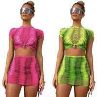 Scoop Neck Animal Snake Skin Print Crop Tank Top and Leggings Shorts Suit Set Women 2019 Sleeveless Sexy Two Piece Set