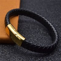 Genuine Leather Bracelet Men Gold Plated Stainless Steel Magnetic Clasp Bangle Jewelry Wholesale