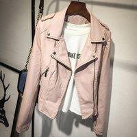 Pu Leather Jacket Women Fashion Bright Colors Black Motorcycle Coat Short Biker Jacket Soft Female Y11287