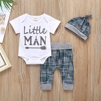 2019 Baby Clothing Sets 0-24M 3pcs Summer Baby Boys Clothes Set Infant Baby Tops Rompers + Pants + Hat Outfits Set