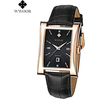 WWOOR New Design Fashion Mens Classical High Quality Square  Wrist Watch Wholesale