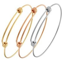 Loftily Jewelry Simple Silver/Rose Gold Plated Stainless Steel Adjustable Expandable Bracelet Bangle DIY Wire String Bracelet