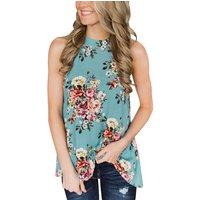 New Style Summer Round Neck Sleeveless Loose Hem Flower Printed Blouse Women