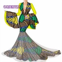 Party Evening Dress Two Pieces Women Half Sleeve Crop Tops and Long Maxi Skirt Sets African Mermaid Maxi Clothing 6XL BRW WY3449
