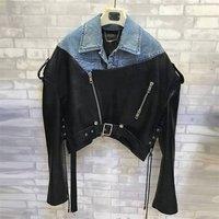 Fashion design denim leather coat genuine leather bomber jacket motorcycle leather jaket for ladies
