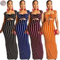 9071603 queenmoen wholesale summer bra top bandage woman sexy stripe maxi dress two piece