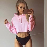 Fashion Women solid color plain Hoodie sweatshirts  trendy ladies crop top hooded hoodie