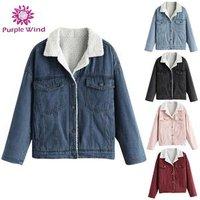 Custom drop shoulder winter denim fleece OEM women pocket jacket