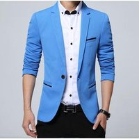 Solid Color Slim Fitted Men Blazer Jacket Business Casual Wedding Groom Suit 1 Piece