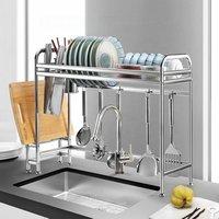 Kitchen Metal Dish Rack 2 Tier Cabinet Stainless Steel Dish Drainer
