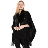 Fashion Design Soft Faux Fur Collar Crochet Open Cardigan Poncho With Pearls Decoration For Ladies