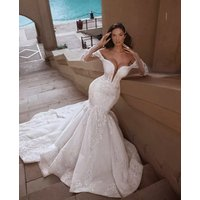 L6054 robe de mariage Luxury Mermaid Wedding Dresses Sexy Fit and Flare Lace Wedding Gown with Train Off Shoulder Arabic Bridal