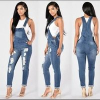 F20918A  new  designRipped stylish one-piece suspenders stretch denim leggings for ladies jeans jump suit  for ladies