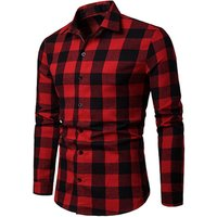 2019 Spring New Red Plaid Mens Dress Shirt