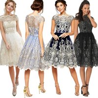 High Quality Vintage Mesh Embroidery Women Dress Evening Party Dress