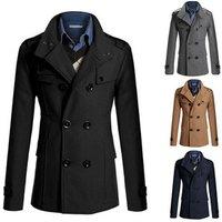 walson Mens fashion classic fashionable pea coats long abaya coat