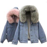 Winter Women Jean Jacket Coat Faux Fur Collar Fleece Hooded Jacket Lamb Fur Cashmere Cowgirls Padded Denim Coat