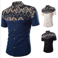 New Spring andAutumn Shirts Fashion Trend Folk Men Ethnic Flowers Printed Casual Hawaiian Short Sleeves Dress Shirts 3XL