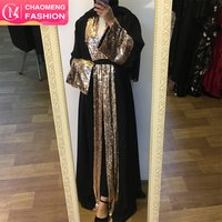 1681#2019 spring summer women clothing sequins design turkish products moroccan kaftan muslim dress kimono islamic clothing abay