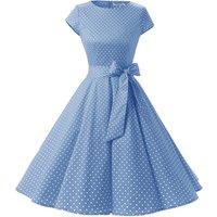 Womens Polka Dot Casual Dress 1950s Vintage Retro Rockabilly Cheap Short Blue Dress