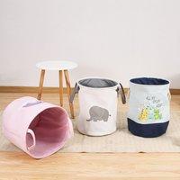 Canvas round storage basket with  handles  collapsible Toy sundries storage basket