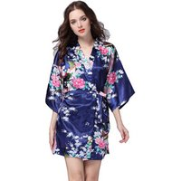 Bridesmaid Peacock Kimono Robe Wedding Women Satin Silk Robes